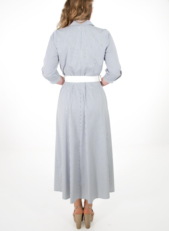 0c3c14ab1cb2 Ριγέ φόρεμα με ζώνη