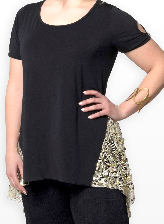 65bca3d820b3 Μαύρη μπλούζα με χρυσές παγιέτες