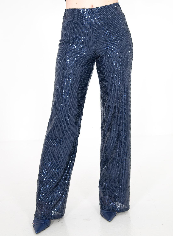 Μπλε αμπιγιέ παντελόνι με παγιέτες