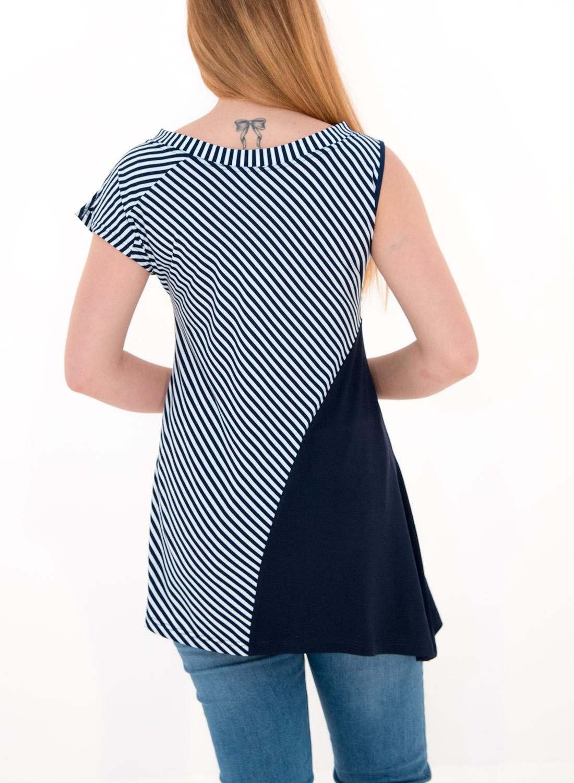Ριγέ ασύμμετρη μπλούζα