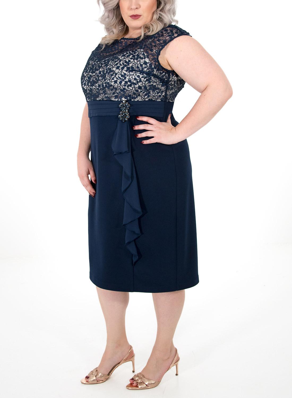 Μπλε φόρεμα με δαντελένιο μπούστο