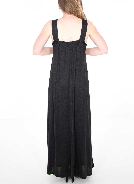 Μαύρο ντραπέ γυαλιστερό φόρεμα
