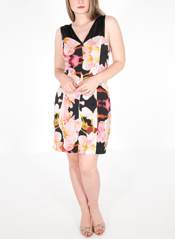 Φλοράλ αμπιγιέ φόρεμα με μαύρη διαφάνεια