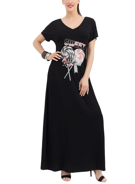 5657ac966df0 Ολόμαυρο φόρεμα με στάμπα