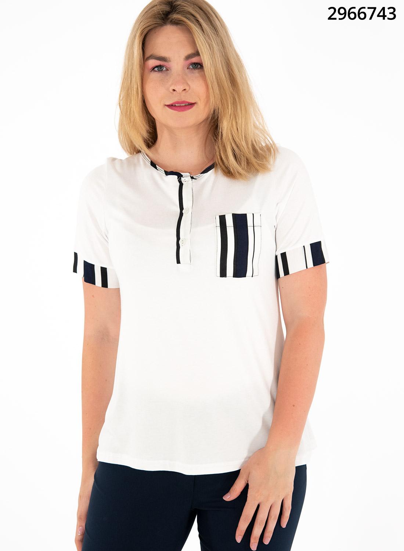 Λευκή μπλούζα με μπλε ρίγες