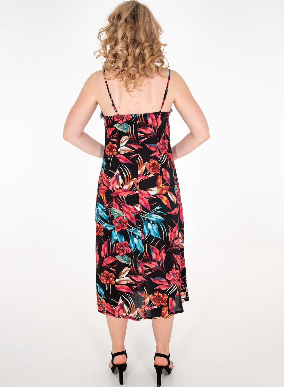 Μαύρο φλοράλ ευκολοφόρετο φόρεμα