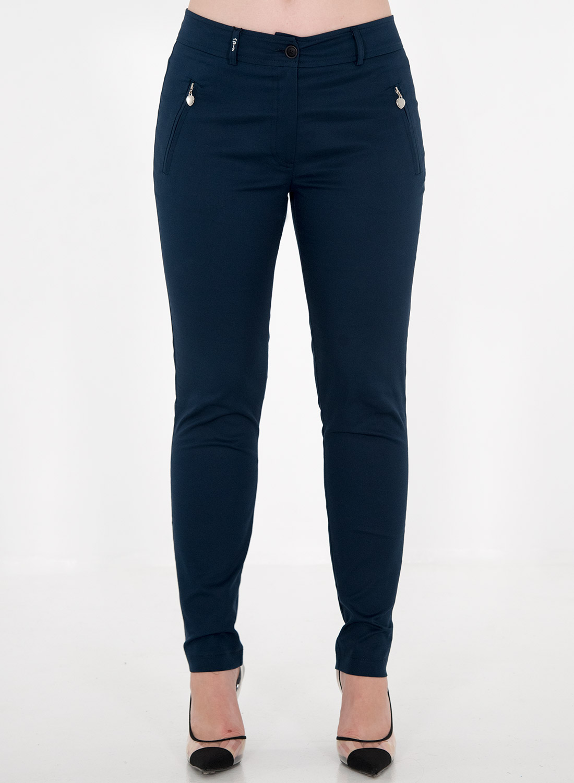 Μπλε ίσιο βαμβακερό παντελόνι
