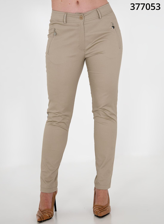 Μπεζ ίσιο βαμβακερό παντελόνι