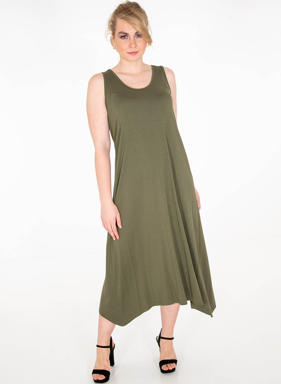 Χακί ριχτό νεανικό φόρεμα