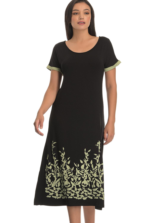 Μαύρο ευκολοφόρετο φόρεμα με στάμπα