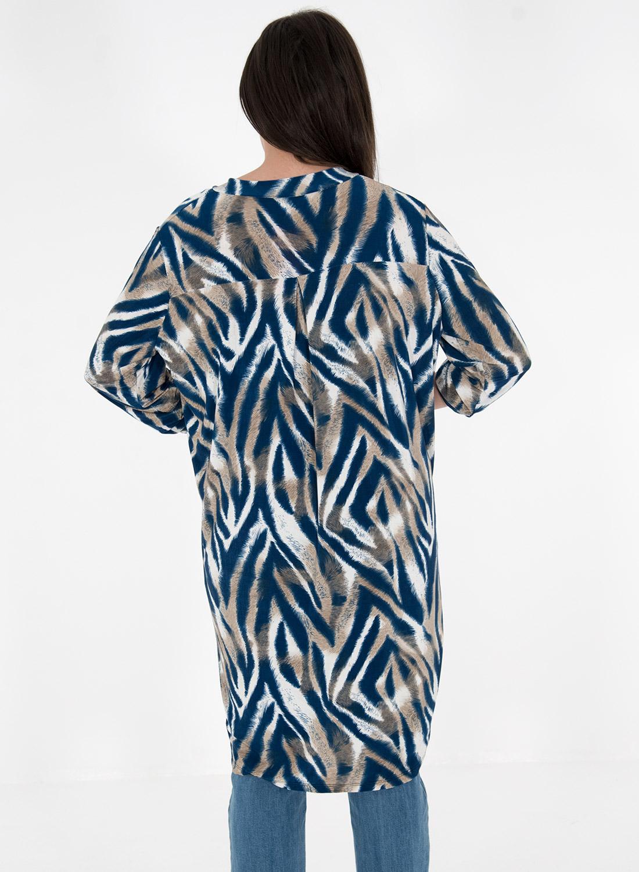Εμπριμέ μπλουζοφόρεμα σε γήινες αποχρώσεις