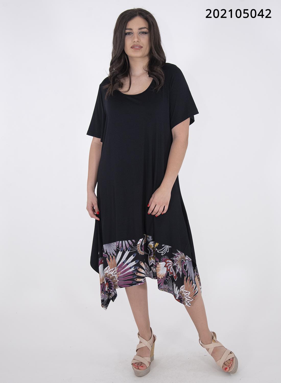 Μαύρο ριχτό φόρεμα με εμπριμέ τελείωμα