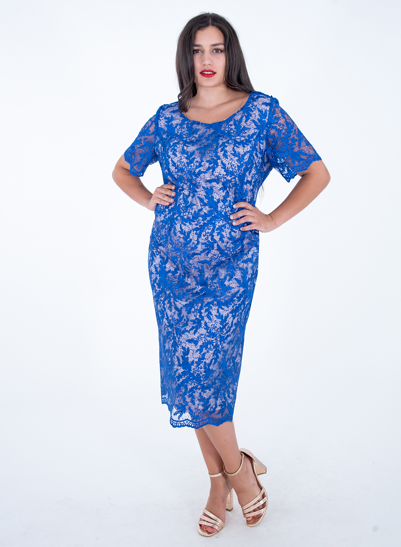 Μπλε αμπιγιέ δαντελένιο φόρεμα