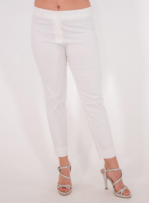 Λευκό ελαστικό ίσιο παντελόνι