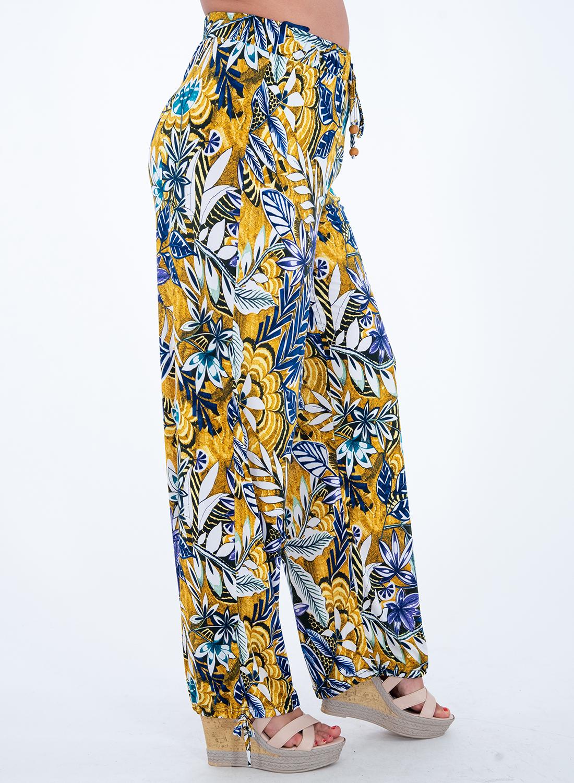 Φλοράλ παντελόνα με λάστιχο