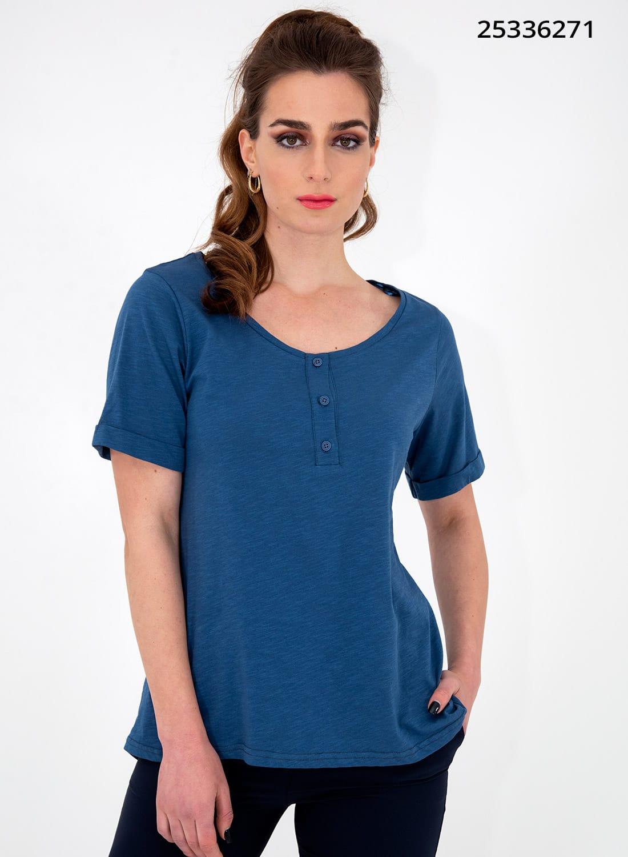 Μπλε ευκολοφόρετη μπλούζα με κουμπάκια