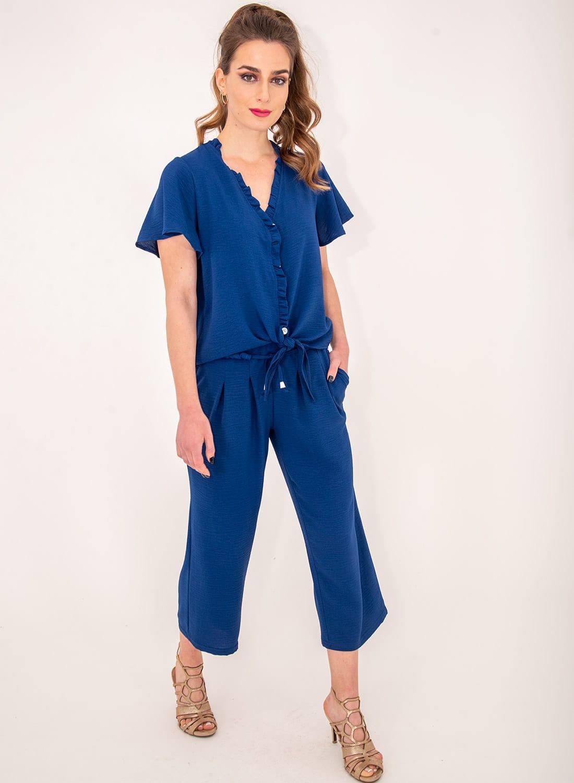 Νεανική μπλε μπλούζα με δέσιμο