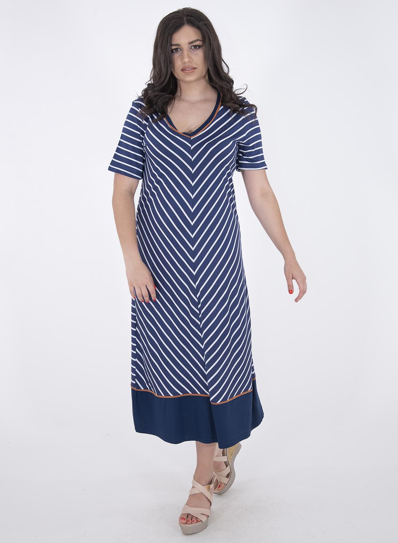 Μπλε ριγέ φόρεμα