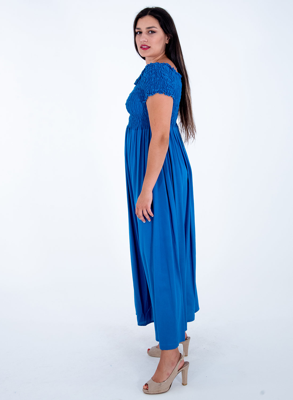 Θηλυκό μπλε ρουά μάξι φόρεμα