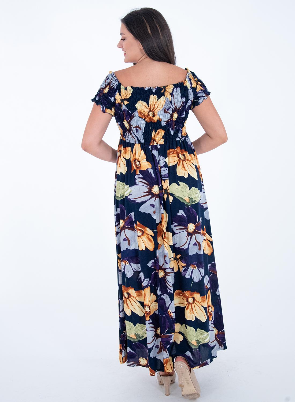 Μπλε φλοράλ μάξι φόρεμα