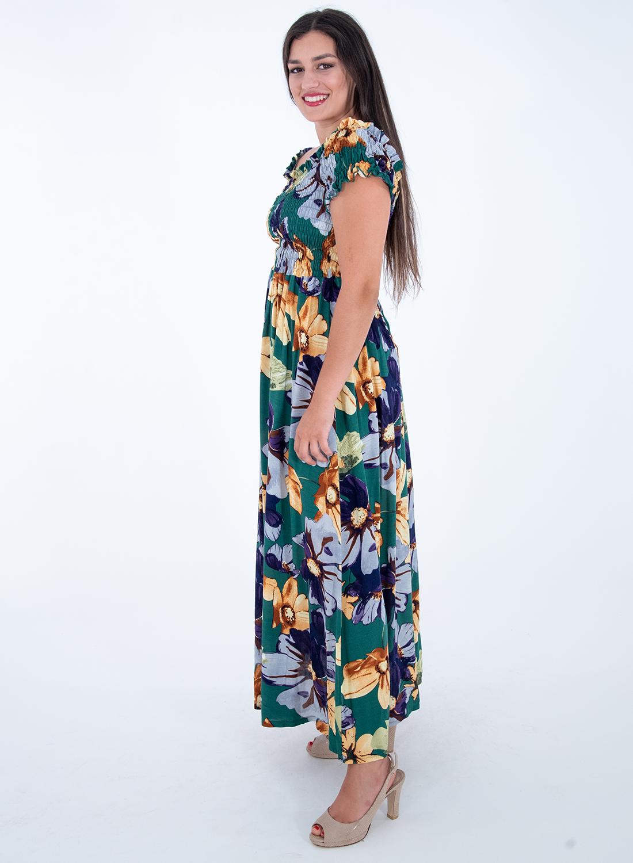 Πράσινο φλοράλ μάξι φόρεμα