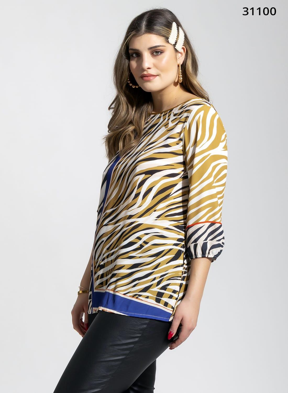 Πολύχρωμη animal print πουκαμίσα