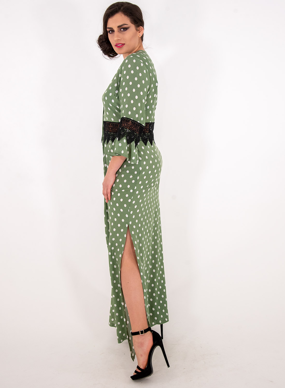 Μάξι πουά φόρεμα με δαντέλα