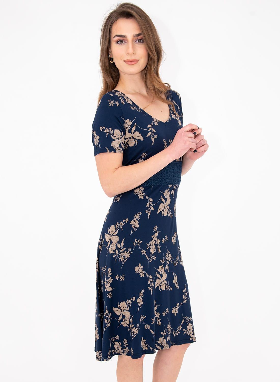 Μπλε φλοράλ φόρεμα με δαντέλα