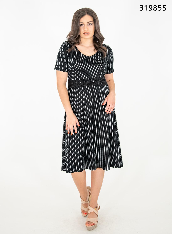 Μαύρο πουά φόρεμα με δαντέλα