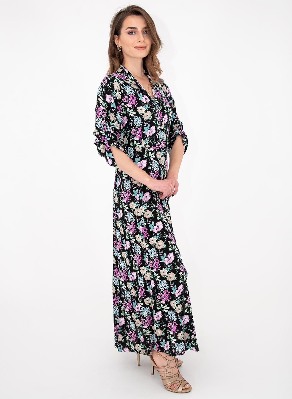 Μαύρο φλοράλ σεμιζιέ φόρεμα