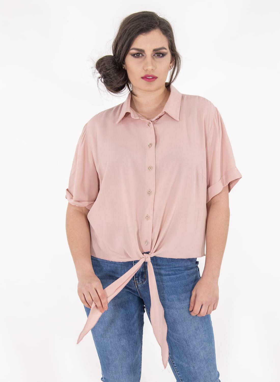 Ροζ κοντό πουκάμισο με φιόγκο