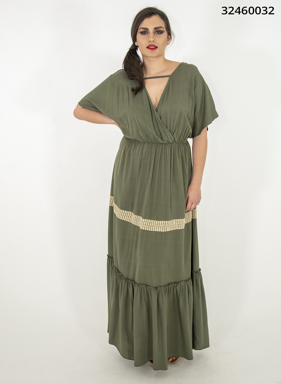 Χακί μάξι φόρεμα