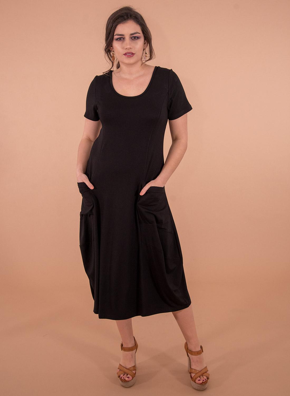 Μαύρο ριχτό φόρεμα με τσέπες
