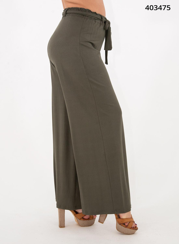 Ευκολοφόρετη χακί παντελόνα με λάστιχο