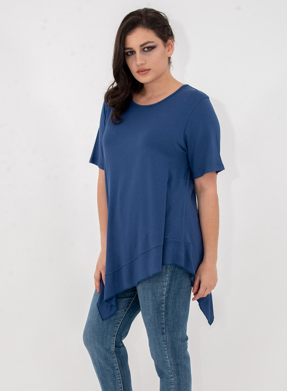 Νεανική μπλε ασύμμετρη μπλούζα