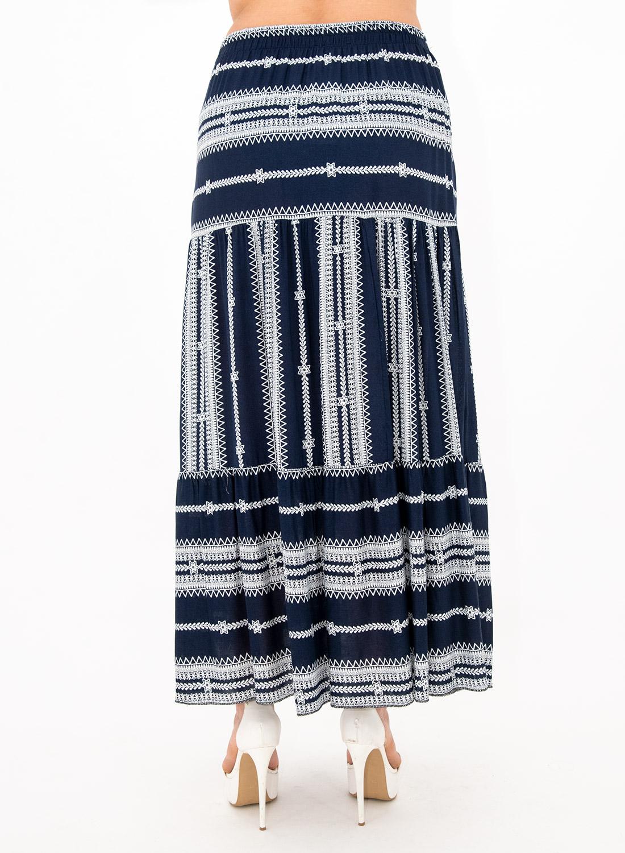 Μπλε μάξι φούστα με σχέδιο