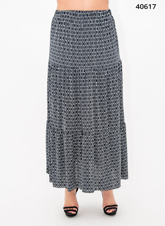 Ασπρόμαυρη μάξι φούστα με γεωμετρικό σχέδιο