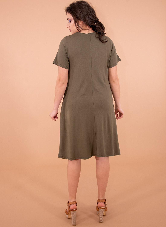 Χακί ευκολοφόρετο φόρεμα με φιόγκο