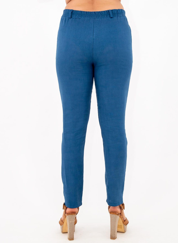 Μπλε λινό παντελόνι με λάστιχο στη μέση