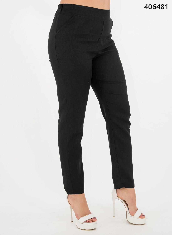 Μαύρο λινό παντελόνι με λάστιχο
