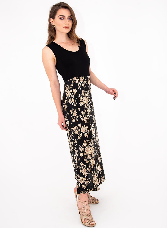 Μαύρο φλοράλ μακρύ φόρεμα