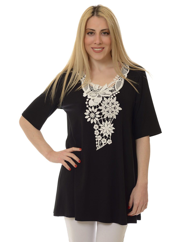 Μαύρη ριχτή μπλούζα με δαντέλα