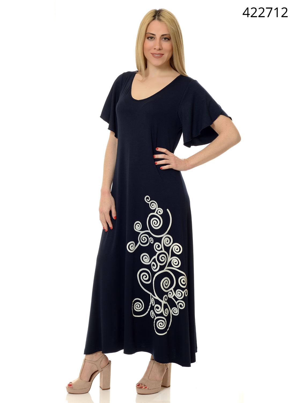 Μπλε μακρύ φόρεμα με στάμπα