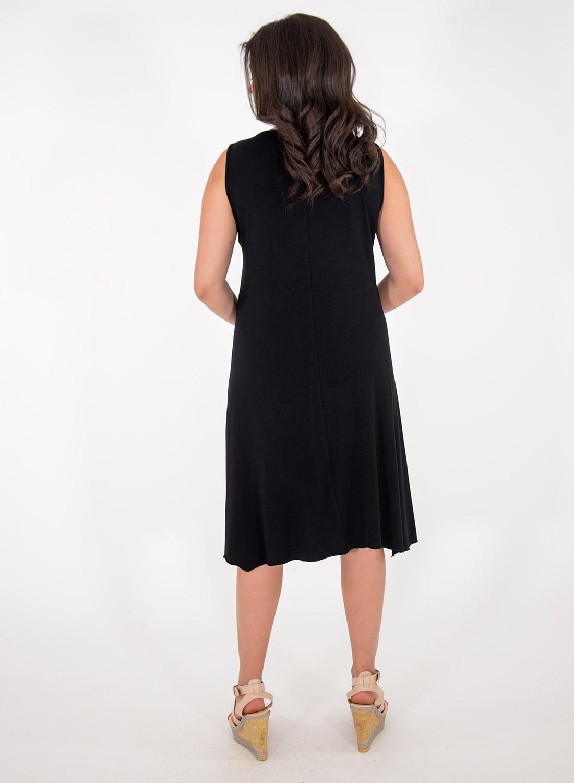 Μαύρο αμάνικο φόρεμα με στάμπα