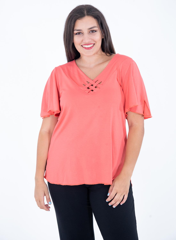 Κοραλί κοντομάνικη μπλούζα