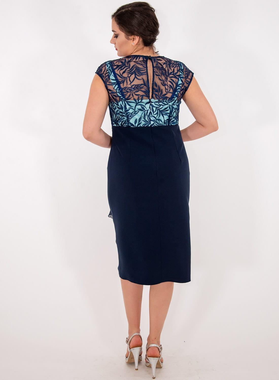 Μπλε δίχρωμο αμπιγιέ φόρεμα
