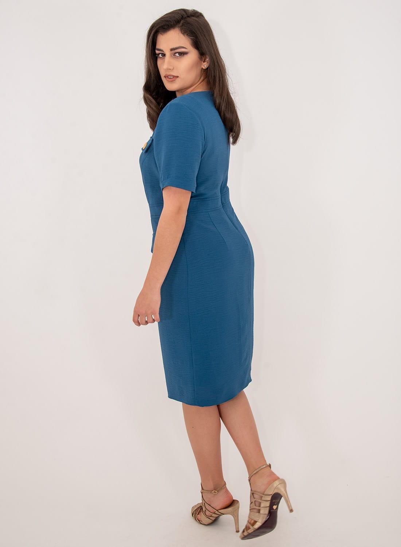 Μπλε κολακευτικό θηλυκό φόρεμα