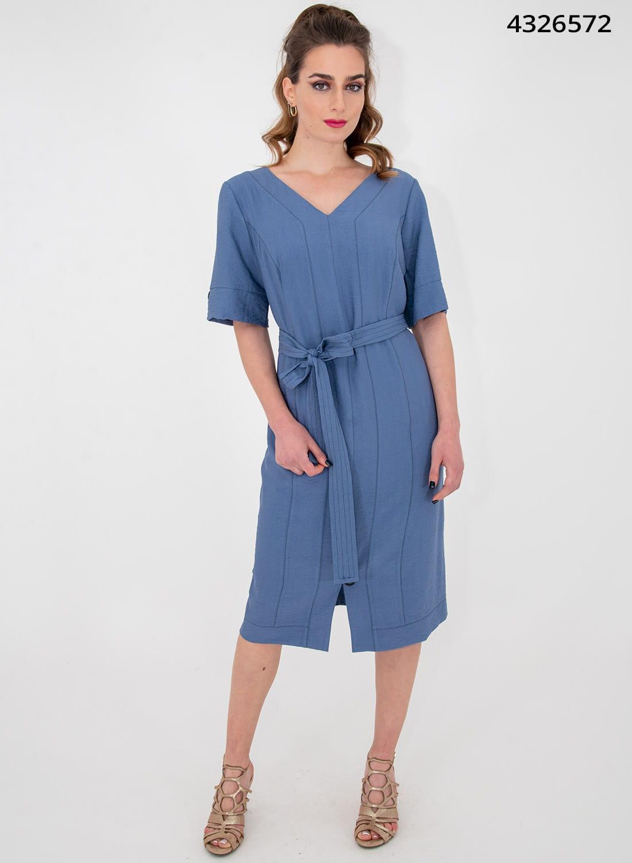 Μπλε ίσιο κολακευτικό φόρεμα με ζώνη