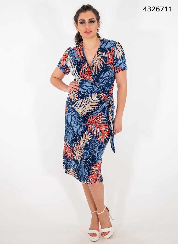 Μπλε εμπριμέ ευκολοφόρετο φόρεμα