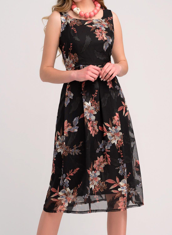 Αμπιγιέ μαύρο φλοράλ φόρεμα